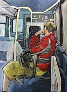 Going Prints - Man on 107 Bus Verdun Print by Reb Frost