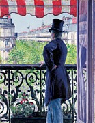 Balcony Painting Posters - Man on a balcony on Boulevard Haussmann Poster by Gustave Caillebotte