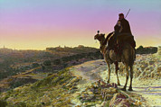 Candid Portraits Prints - Man On A Camel And Horizon, Bethlehem Print by Everett