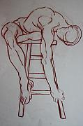 Model Pastels Originals - Man On A Stool by Dan Earle
