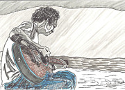 Acoustic Guitar Drawings - Man On Beach by David Fossaceca