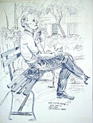 Towns Drawings - Man on Park Bench by Bill Joseph  Markowski
