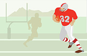 Adults Only Digital Art Prints - Man Playing American Football Print by Medioimages/Photodisc