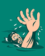 Help Digital Art Posters - Man Reaching for Help Drowning Poster by Aloysius Patrimonio