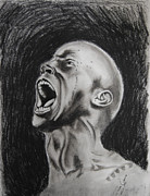 Screaming Drawings Posters - Man Screaming in Anger Poster by Duane Cabahug