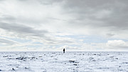 35-39 Years Posters - Man Standing In Middle Of Salt Flats Poster by Thomas Northcut