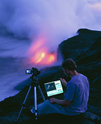 Hawai Posters - Man Taking Photographs Of A Lava Flow Poster by G. Brad Lewis