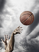Scoring Prints - Man Throwing Basketball In Air, Close-up Of Hands Print by Daniel Grizelj