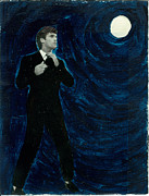 Black Tie Mixed Media Posters - Man Under The Moon Poster by Margit Ilika