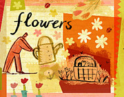 Holding Flower Prints - Man Watering Flowers Print by Cargo