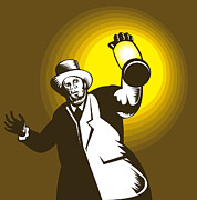 Lantern Digital Art Prints - Man Wearing Top hat And Holding Lantern Print by Aloysius Patrimonio