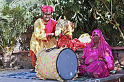 Drum Horse Photos - Man Wife Musicians Puppeteers by Kantilal Patel