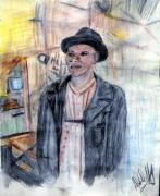 Fedora Paintings - Man With a Harmonica by Deborah Duffy