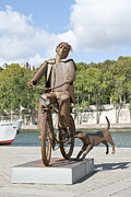 Suffren Prints - Man with bicycle Print by Fabrizio Ruggeri