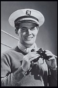 1940-1949 Prints - Man With Binoculars, Sailing Costume, 1940 Print by Archive Holdings Inc.