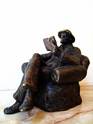 Hat Sculpture Prints - Man with book Print by Nikola Litchkov