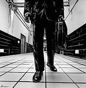 Walking Drawings Posters - Man With Briefcase Poster by Giuseppe Cristiano