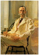 Fine American Art Prints - Man With Cat Print by Cecilia Beaux