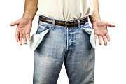 Inflation Photo Prints - Man with empty pockets Print by Blink Images