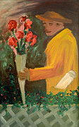 Oil On Cardboard Prints - Man with flowers  Print by Bruce Stanfield