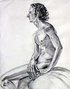 Seated Nude Drawing Prints - Man with Large Hands Print by Asha Carolyn Young