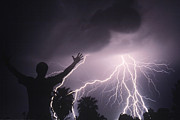 Lightning Bolts Posters - Man With Lightning Poster by Kent Wood and Photo Researchers