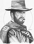 Cowboy Drawings - Man with No Name by Lawrence Tripoli