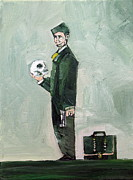 Skull Paintings - MAN with SKULL GUN and SUITCASE by Fabrizio Cassetta
