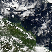 Papua New Guinea Framed Prints - Manam Island, Papua New Guinea Framed Print by Nasa