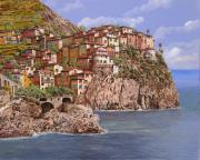 Usa Painting Metal Prints - Manarola   Metal Print by Guido Borelli