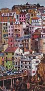 Souls Pastels Framed Prints - Manarola Italy Center Framed Print by Sam Pearson