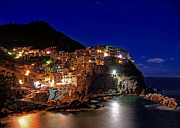 Y120817 Art - Manarola Italy, Liguria, Cinque Terre At Night by Photo Art by Mandy