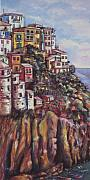 Homes Pastels Posters - Manarola Italy Right Poster by Sam Pearson