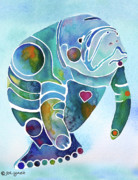 Ocean Creatures Metal Prints - Manatee Blues Metal Print by Jo Lynch