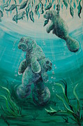 Greens Greeting Cards Prints - Manatee Love Print by Katheryn Napier