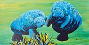 Underwater Paintings - Manatee Love by Susan Kubes
