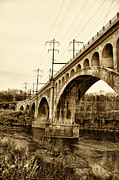 Schuylkill Prints - Manayunk Bridge Across the Schuylkill River in Sepia Print by Bill Cannon
