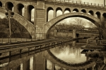 Philadelphia Metal Prints - Manayunk Bridge Reflection Metal Print by Jack Paolini