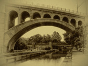 Old-time Posters - Manayunk Canal in Sepia Poster by Bill Cannon