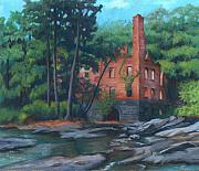 Landmarks Pastels Metal Prints - Manchester Mill at Sweetwater Creek Metal Print by Susan Gore Gardner