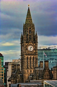 Town Clock Tower Posters - Manchester Town Hall Poster by Heather Applegate