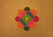 Mandal Infused Within Square Posters - Mandal rangoli Poster by Sonali Gangane