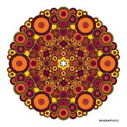 Chakra Drawings - Mandala 37 drawing coloured v1 by Jim Gogarty