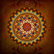 Brown Print Mixed Media - Mandala Ararat by Bedros Awak
