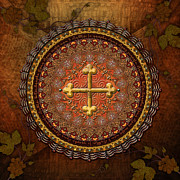 Yellow Leaves Mixed Media Framed Prints - Mandala Armenian Cross Framed Print by Bedros Awak