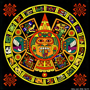 Sanchez Painting Prints - Mandala Azteca Print by Roberto Valdes Sanchez