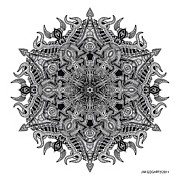 Buddhist Drawings - Mandala drawing 3 by Jim Gogarty