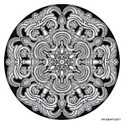 Symmetry Drawings - Mandala drawing 31 by Jim Gogarty