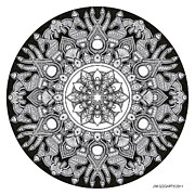 Buddhist Drawings - Mandala drawing 32 by Jim Gogarty
