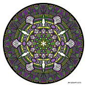 Chakra Drawings - Mandala drawing 33 Coloured v1 by Jim Gogarty